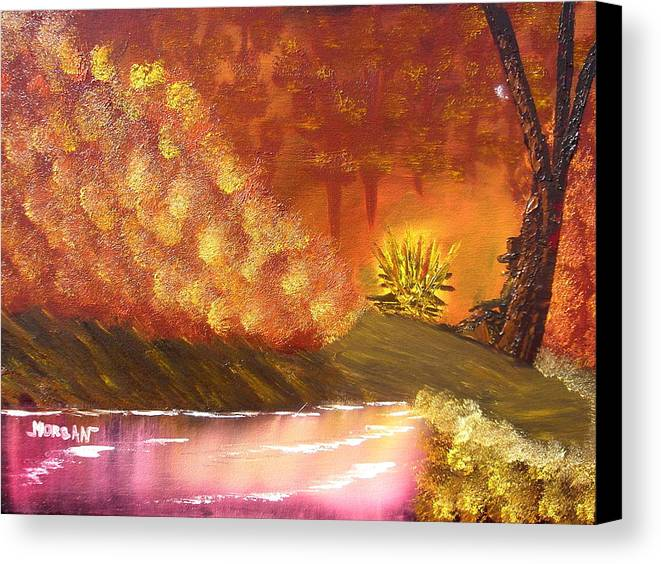Campfire Sceneat Vthe End Of The Day Canvas Print featuring the painting Campfire by Sheldon Morgan