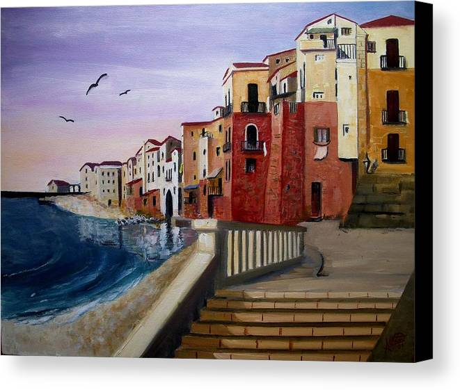 Imbrunire Su Cefalu Canvas Print featuring the painting Cefalu by Anthony Meton