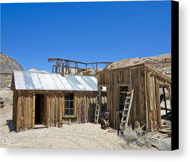 4x4 Canvas Print featuring the photograph Cerro Gordo Assay Building by Backcountry Explorers