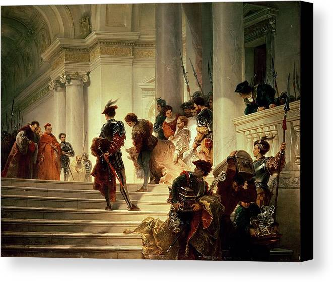 Cesare Canvas Print featuring the painting Cesare Borgia Leaving The Vatican by Giuseppe Lorenzo Gatteri
