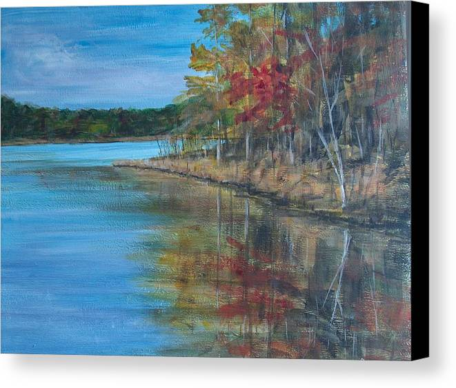 Fall Canvas Print featuring the painting Channings Lake by Pete Maier