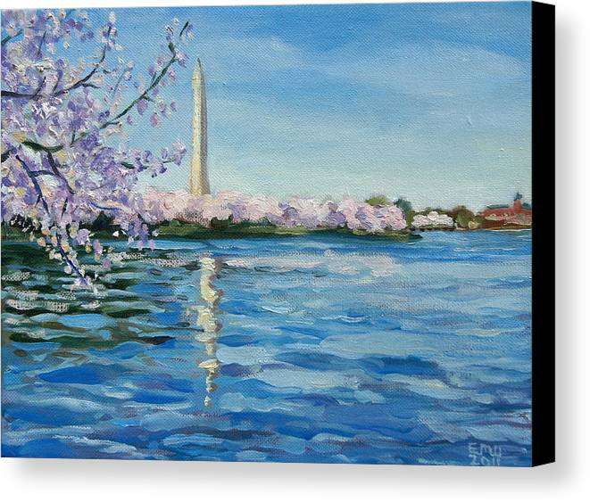 Cherry Blossoms Canvas Print featuring the painting Cherry Blossoms by Edward Williams