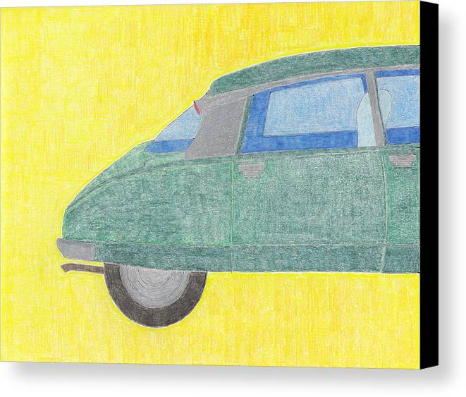 Citroen Canvas Print featuring the drawing Citroen Ds by Eric Forster