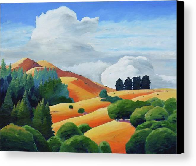 Clouds Canvas Print featuring the painting Clouds Over Windy Hill by Gary Coleman