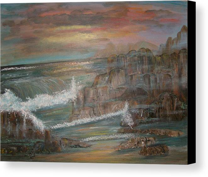 Seascape Canvas Print featuring the painting Coastal Brillancy by Mikki Alhart