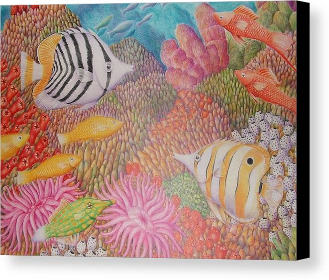 Seascape Fish Coral Drawing Canvas Print featuring the drawing Colorful Ocean by Jubamo