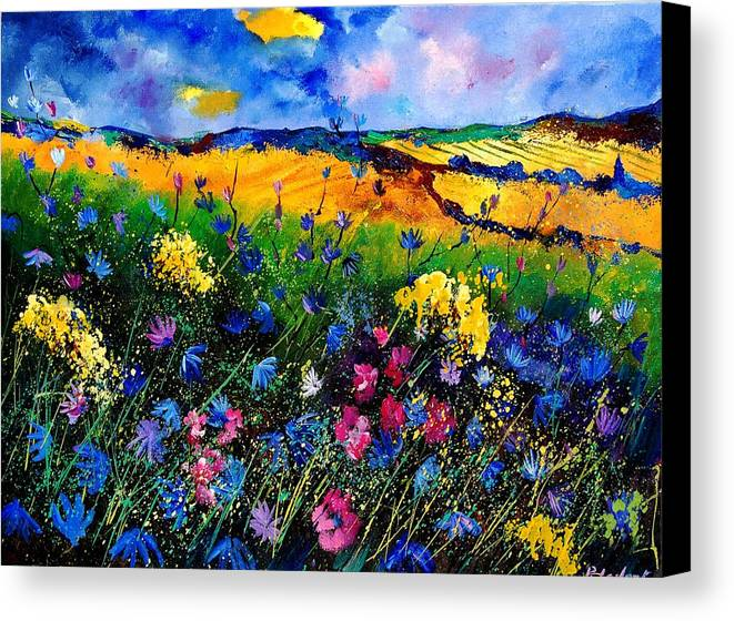 Flowers Canvas Print featuring the painting Cornflowers 680808 by Pol Ledent