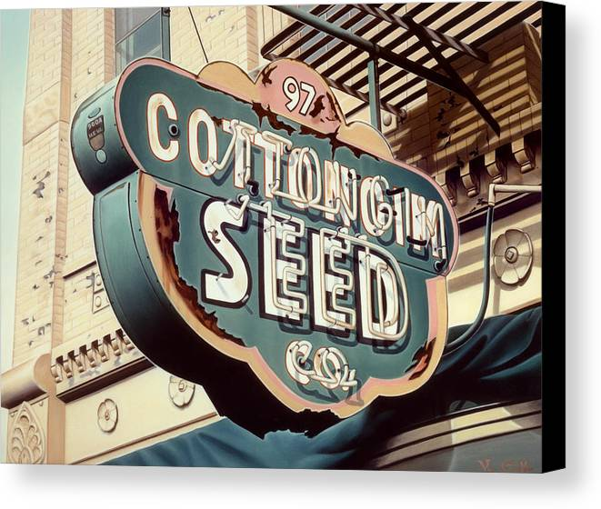 Sign Canvas Print featuring the painting Cottongim Seed by Van Cordle