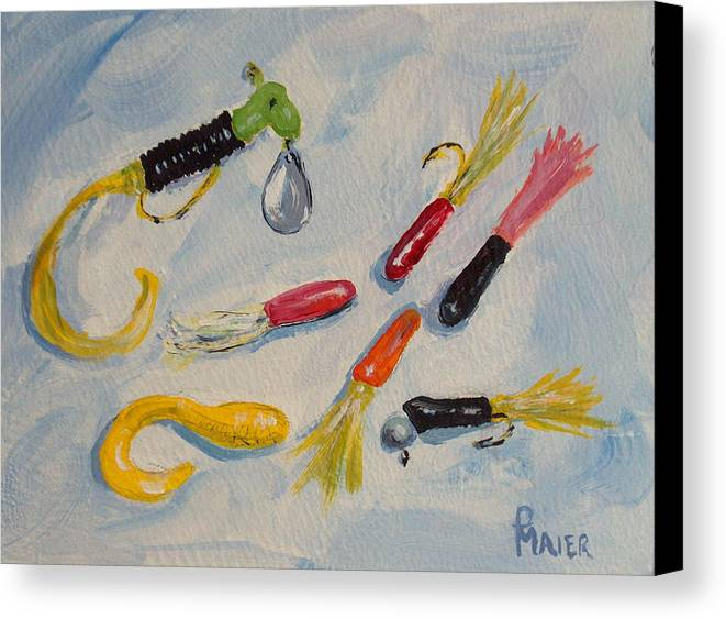 Fishing Canvas Print featuring the painting Crappie Lures by Pete Maier