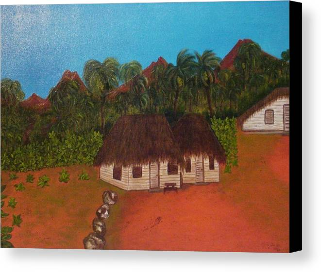 Cuban Fields Canvas Print featuring the painting Cuban Tobacco Plantation by Ofelia Uz