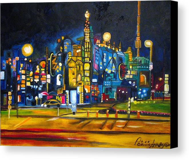 Cityscape Canvas Print featuring the painting Dam Square by Patricia Arroyo