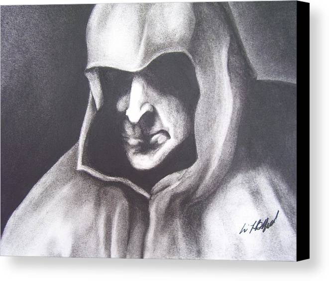 Charcoal Canvas Print featuring the drawing Dark Man by Eric Belford