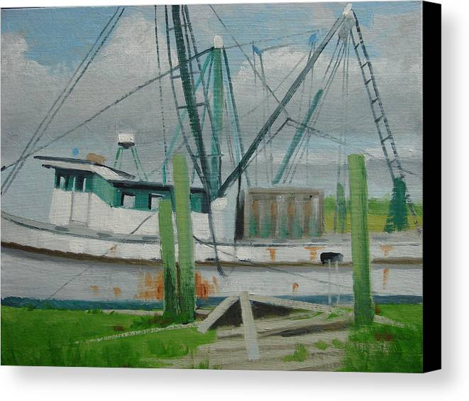 Boat Shrimp Boat Work Boat Canvas Print featuring the painting Day Of Rest by Robert Rohrich