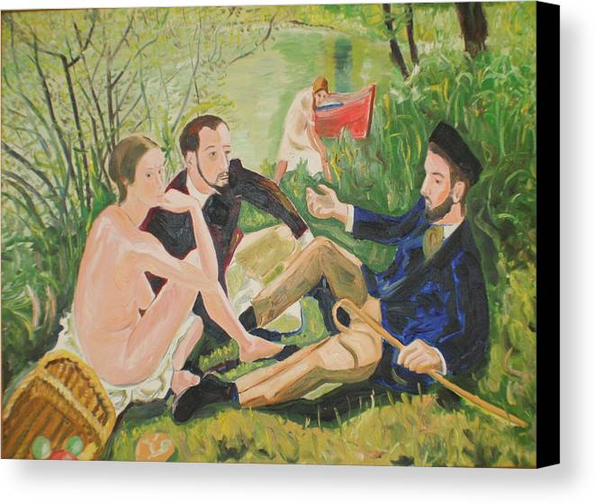 Canvas Print featuring the painting Dejeuner Sur L'herbe by Biagio Civale