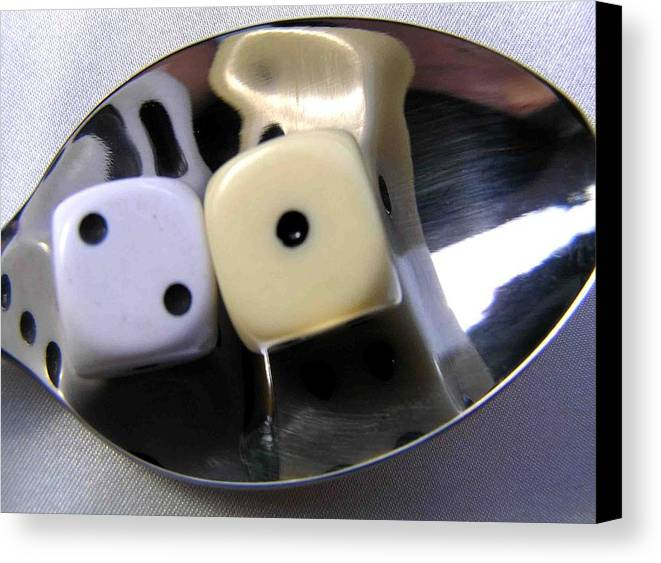 Dice Canvas Print featuring the photograph Dice In A Spoon by Evguenia Men
