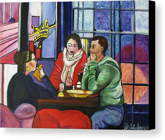 People Canvas Print featuring the painting Dinner In Dam by Patricia Arroyo