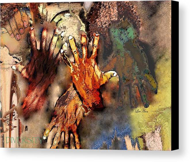 Abstract Canvas Print featuring the photograph Diversity by LeeAnn Alexander