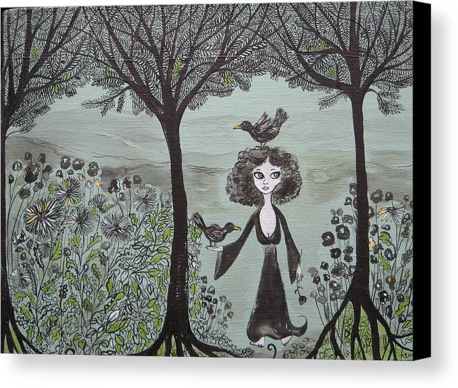 Woods Canvas Print featuring the painting Ninas Garden by Sue Wright