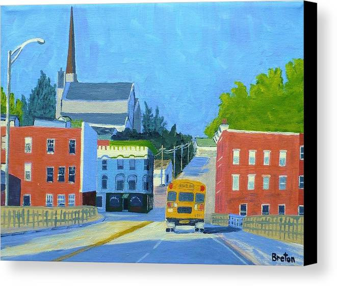 Landscape Canvas Print featuring the painting Downtown With School Bus   by Laurie Breton