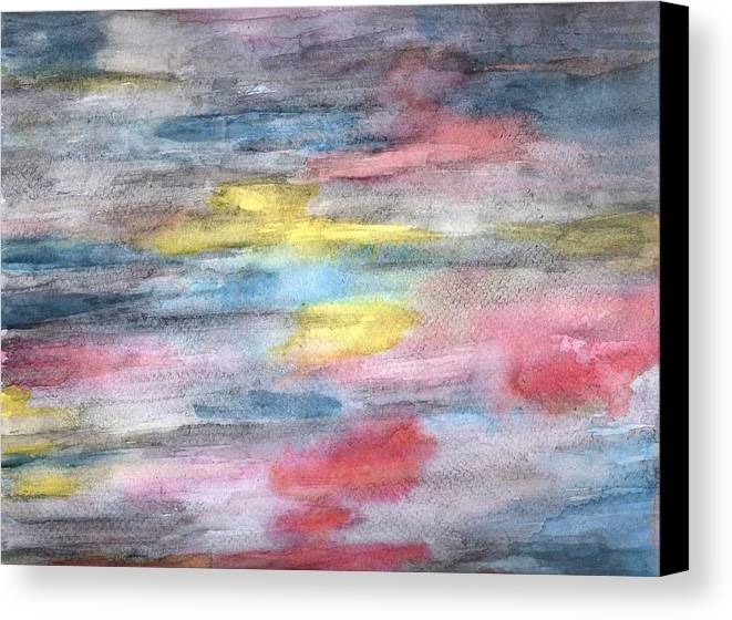 Abstract Canvas Print featuring the painting Ebony Rainbow by Mary Zimmerman