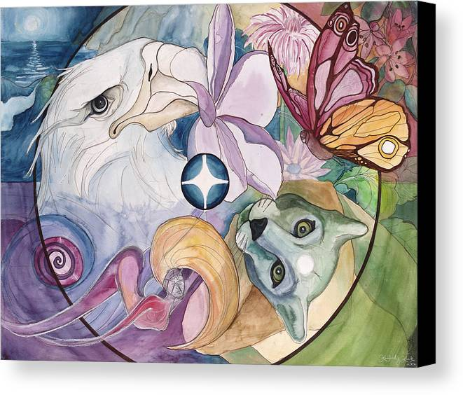 Wildlife Canvas Print featuring the painting Essence Wheel by Kimberly Kirk