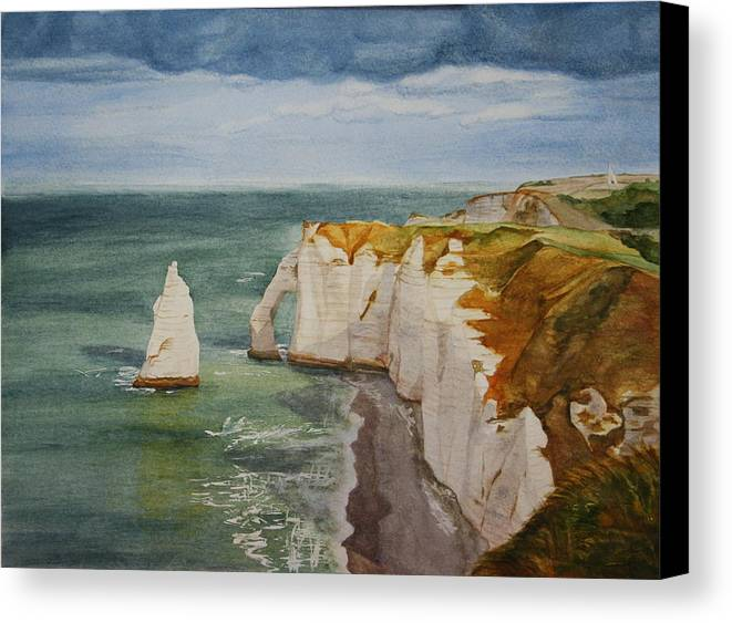 Seascape Canvas Print featuring the painting Etretat by Monika Degan