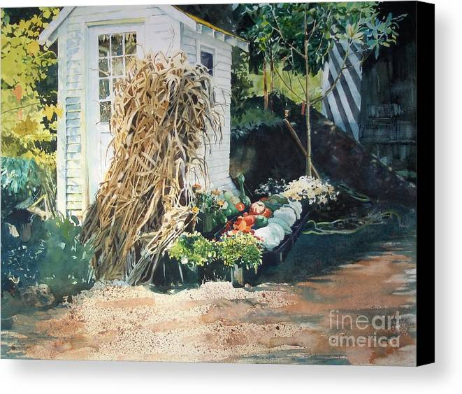 Garden Canvas Print featuring the painting Fall At Ivy Corners by Elizabeth Carr