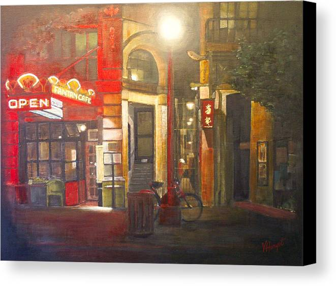 Chinatown Canvas Print featuring the painting Fan Tan Alley by Victoria Heryet