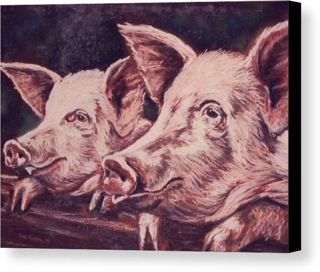 Pigs Canvas Print featuring the painting Feedtime by Sue Linton