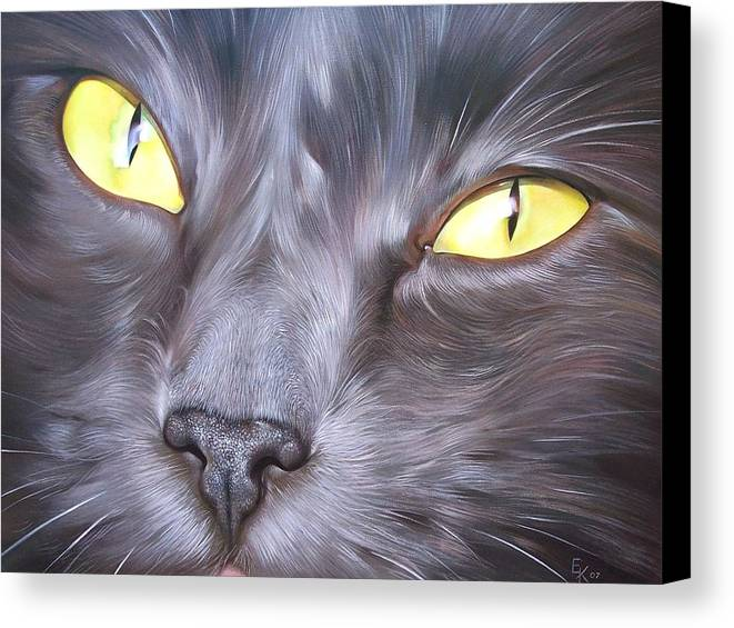 Cat Canvas Print featuring the painting Feline Face 1 by Elena Kolotusha