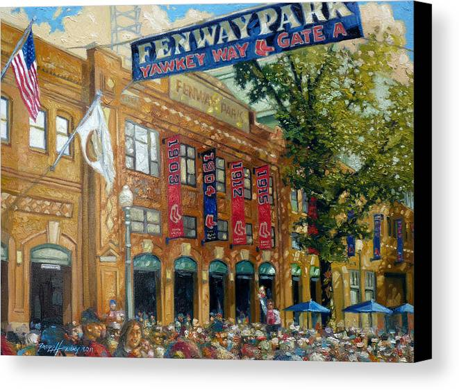 Fenway Park Canvas Print featuring the painting Fenway Summer by Gregg Hinlicky