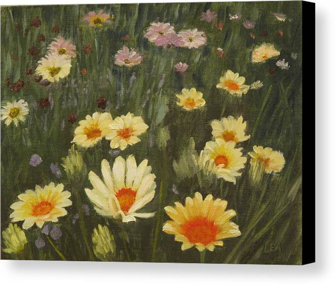 Flower Canvas Print featuring the painting Field Of Flowers by Lea Novak