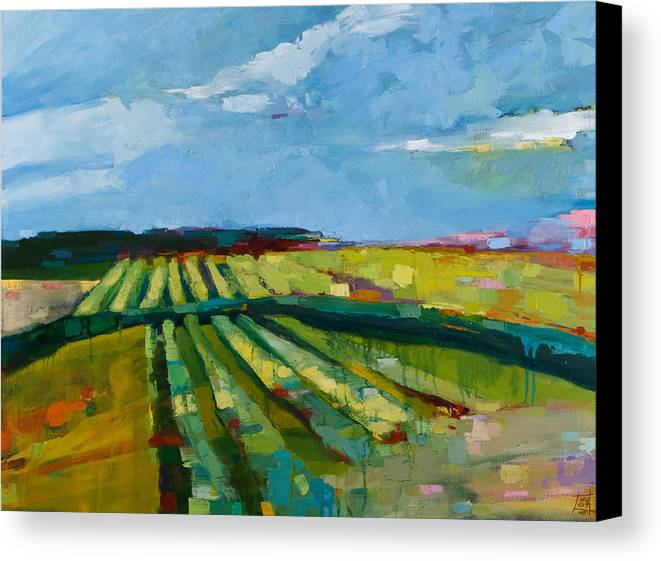 Landscape Canvas Print featuring the painting Fine Fields by Michele Norris