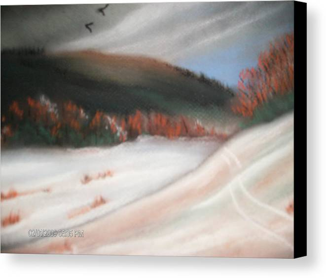 Pastel Canvas Print featuring the painting First Dusting Of Snow by Terry Lash