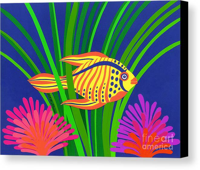 Nature Canvas Print featuring the drawing Fish by Lucyna A M Green