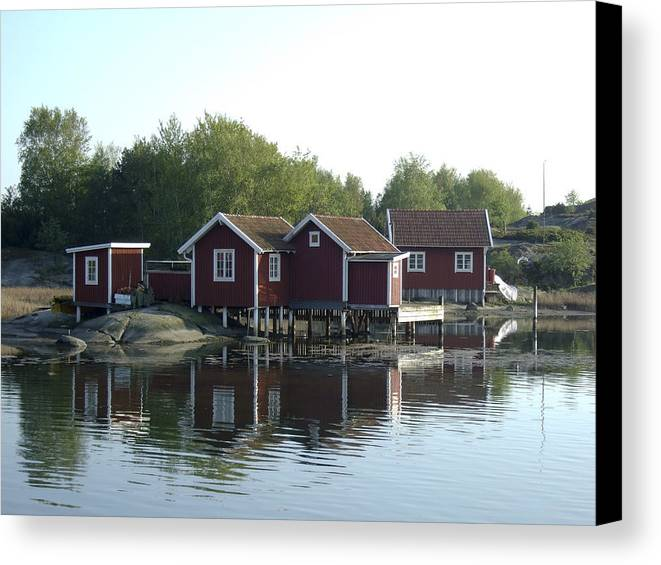 Summer Canvas Print featuring the photograph Fisherman's Huts by Dan Andersson
