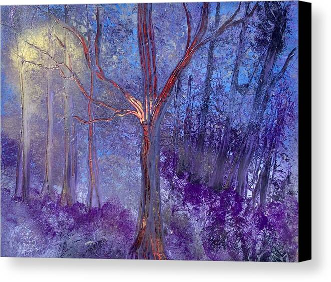 Moonlight Canvas Print featuring the painting Forest Light by Richard Fey