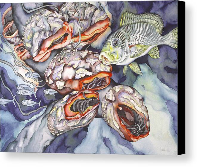 Sealife Canvas Print featuring the painting Garden Of Eden by Liduine Bekman