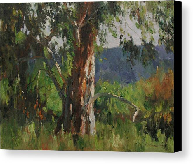 Landscape Canvas Print featuring the painting Gentle Wind by Kelvin Lei