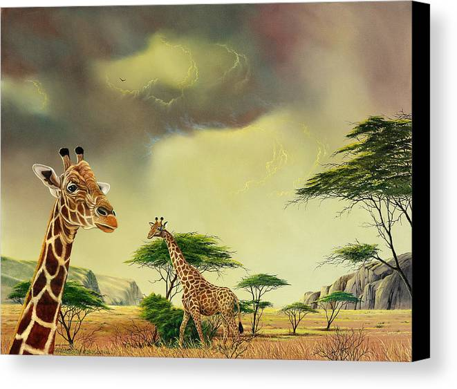 Landscape Canvas Print featuring the painting Giraffes At Thabazimba by Don Griffiths