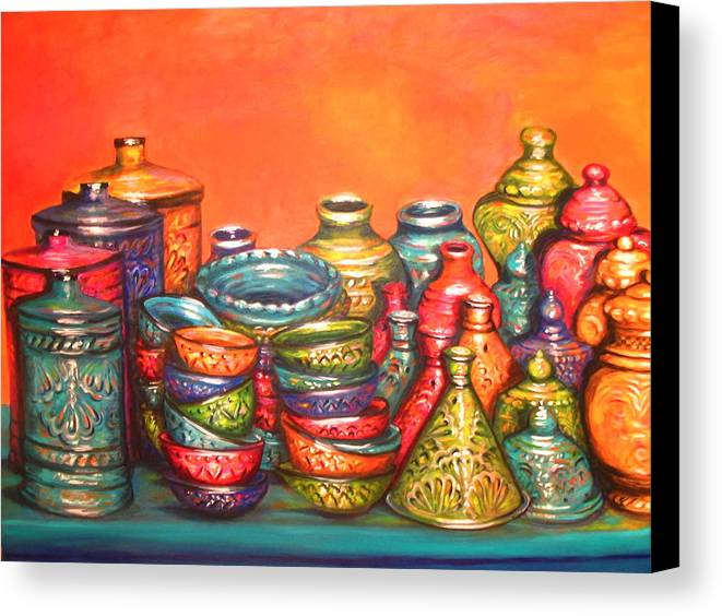 Glazed Moroccan Pots Canvas Print Canvas Art By Yvonne Ayoub