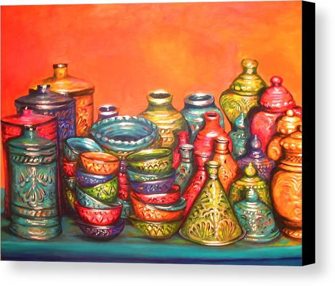 Glazed Moroccan Pots Canvas Print Canvas Art By Yvonne Ayoub
