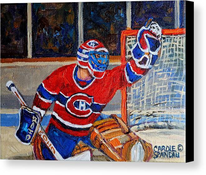 Hockey Canvas Print featuring the painting Goalie Makes The Save Stanley Cup Playoffs by Carole Spandau