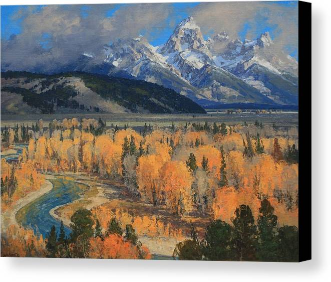 Landscape Canvas Print featuring the painting Golden September by Lanny Grant