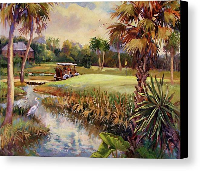 Landscape Canvas Print featuring the painting Great Day For Golf by Dianna Willman