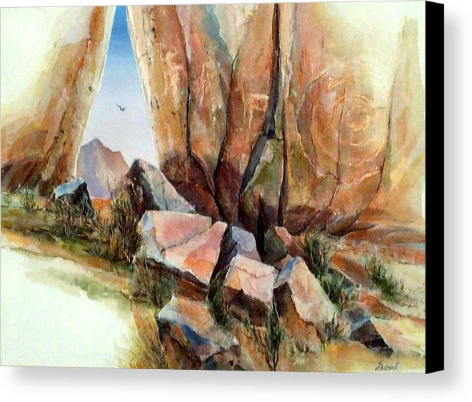Southwest Landscape Mixed Media Canvas Print featuring the painting Hall Of Giants by Don Trout