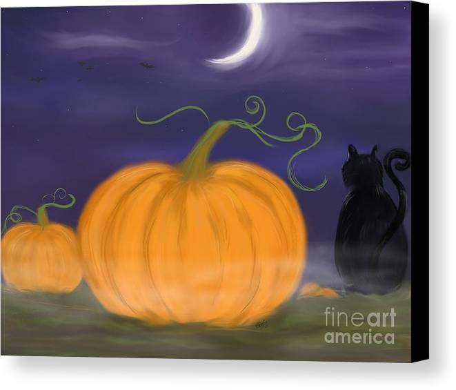 Samhain Canvas Print featuring the painting Halloween Night by Roxy Riou