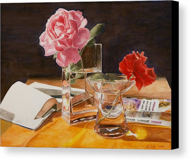 Rose Canvas Print featuring the painting Handbuch by Nik Helbig