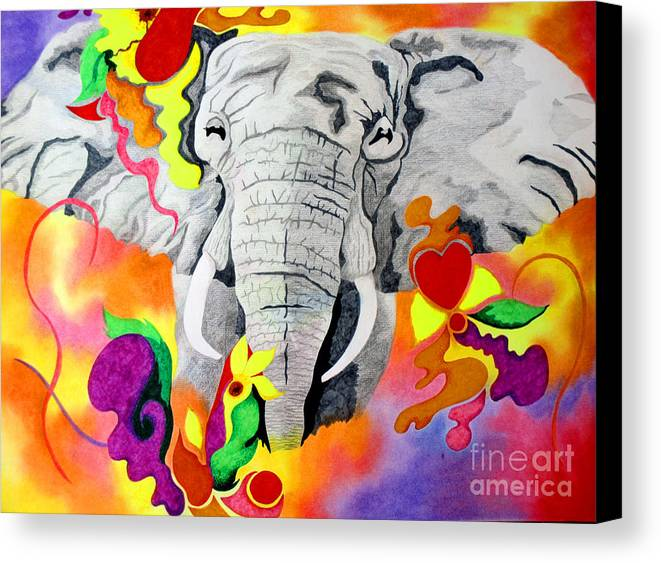 Animal Canvas Print featuring the drawing Happy by Kathleen Allen