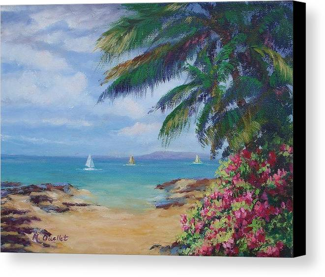 Landscape Canvas Print featuring the painting Hawaii Calling by Maxine Ouellet